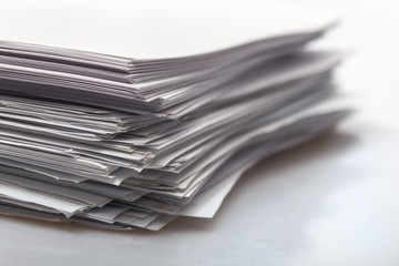 Document. Stack of white papers