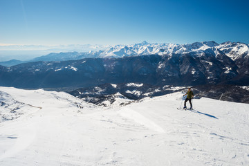 Back country skiing in scenic alpine setting