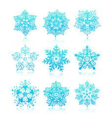 vector hand-drawn snowflakes silhouettes isolated, winter