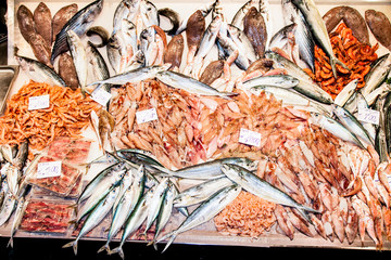 Offer of sea fishes on the market at Catania, Sicily, Italy
