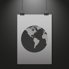 Hanging paper with world map on dark background