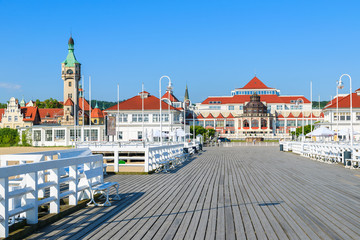 Wooden pier in Sopot seaside town in summer, Baltic Sea, Poland Wall mural