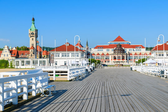 Wooden pier in Sopot seaside town in summer, Baltic Sea, Poland