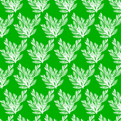 Seamless beauty floral patterns on green background