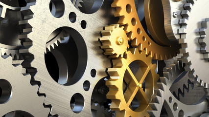 Close up clockwork mechanism or a machine inside.