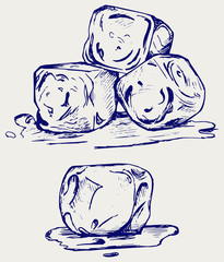 Bunch of ice cubes. Doodle style