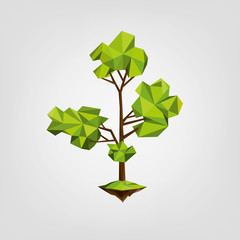 Conceptual polygonal tree. low poly style.