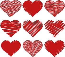 Illustration painted hearts