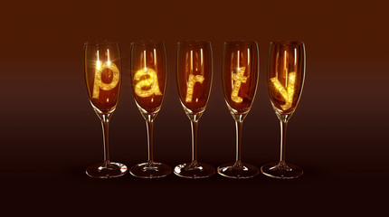"A few glasses with the text ""party"""