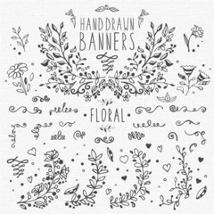 Collection of hand drawn vintage design elements