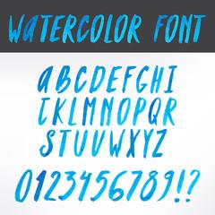 Watercolor blue font