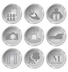 Monochrome entertainment related icon set