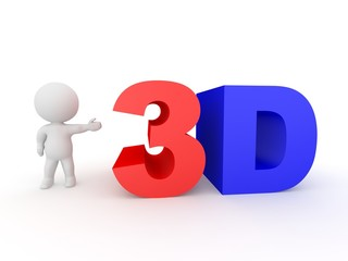 3D Character Showing 3D Text