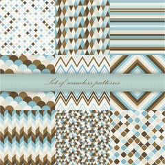Set of seamless retro patterns. Vector illustration