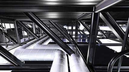 Installation unter dem Dach einer Werkshalle