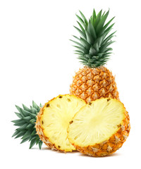 Pineapple and half pieces isolated on white background