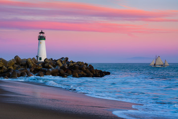 Canvas Prints Lighthouse Walton Lighthouse in Santa Cruz, California at sunset