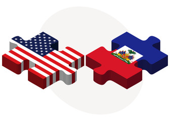 USA and Haiti Flags in puzzle