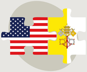 USA and Vatican City Flags in puzzle