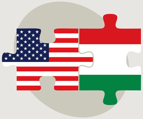 USA and Hungary Flags in puzzle