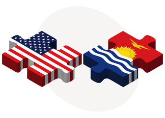 USA and Kiribati Flags in puzzle