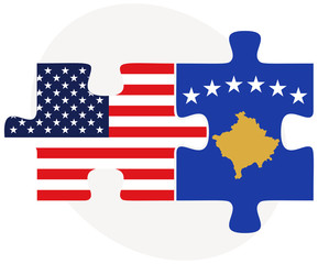 USA and Kosovo Flags in puzzle