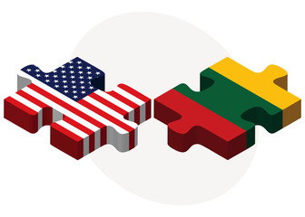 USA and Lithuania Flags in puzzle