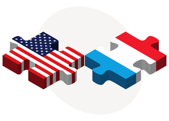 USA and Luxembourg Flags in puzzle
