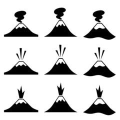 vector active erupting volcano pictograms
