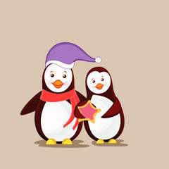 Cute cartoon of happy penguin couple.