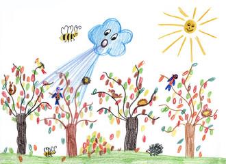 Kinderzeichnung - Herbstwind im Garten