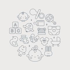 Baby line icon circle set