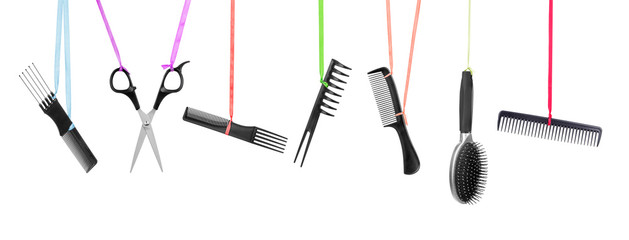 collection of hairdressing equipment isolated on white