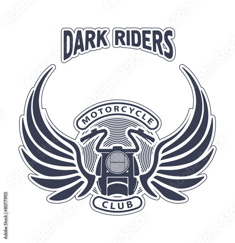 Dark Riders Motorcycle Club Design For Emblem Or Logo Stock Image