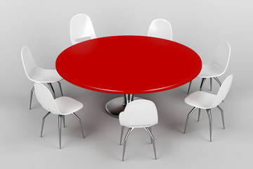 Red round table and white chairs