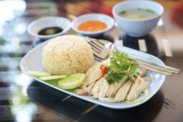 steamed chicken with rice , khao mun kai