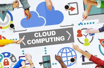Wall Mural - People Meeting Global Communications Cloud Computing Concept