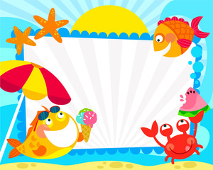 frame with cartoon fish and summer symbols