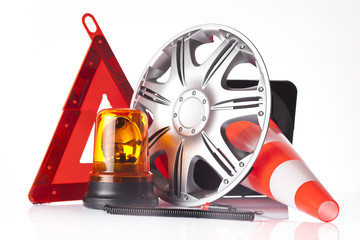 warning triangle and car accessories