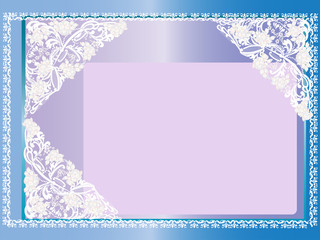 white design on blue and lilac background