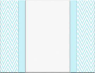 Teal and White Chevron Zigzag Frame with Ribbon Background