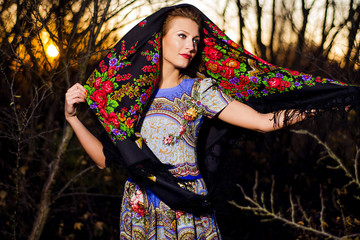 The Russian woman, the Russian soul, evening in the village