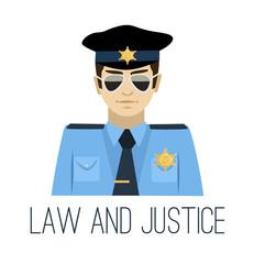 Vector flat policeman illustration