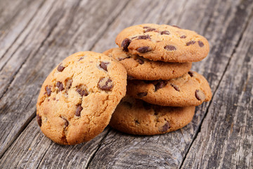 Tasty cookies on a wooden table.