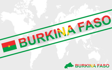 Burkina Faso map flag and text illustration