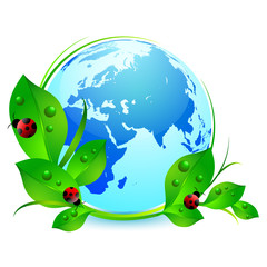 Postcard on Earth day. Globe with green leaves and ladybugs