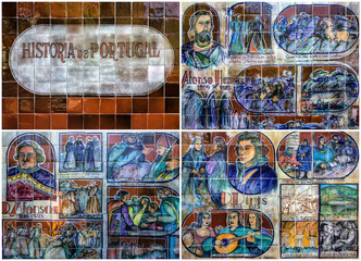 Collage of ceramic tile pictures in botanical garden Monte of Fu
