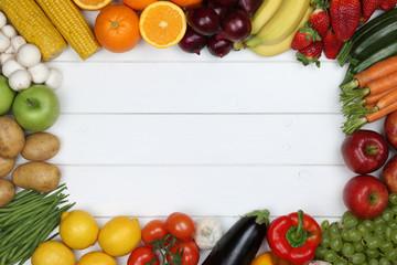 Gesunde vegetarisch Ernährung Rahmen aus Gemüse und Früchte m