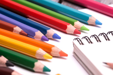colorful crayons and pencils