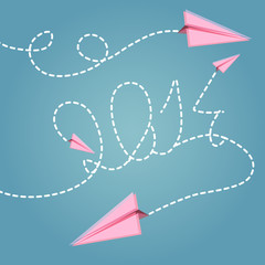 vector background - paper planes - year 2014..